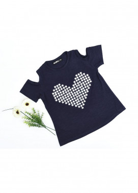 Ochre Cotton Embroidered T-Shirts for Girls -  OGK 48 Navy