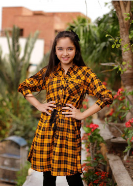 Ochre Cotton Western Girls Tops - OWT 341 Musturd