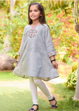 Ochre Cotton Western Kurti for Girls - OFK 705 Grey