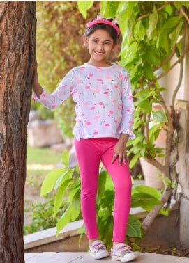 Ochre Cotton Printed Western Tops for Girls -  OKW 05 Off White
