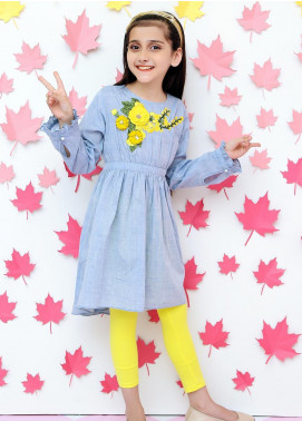 Ochre Chambray Western Tops for Girls -  OWT 288 Blue