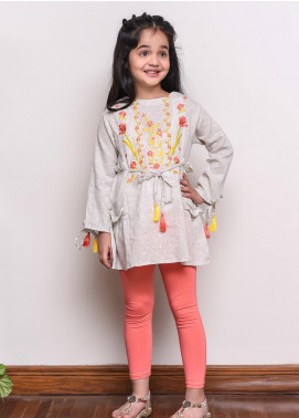 Ochre Chambray Western Tops for Girls -  OWT 298 Grey