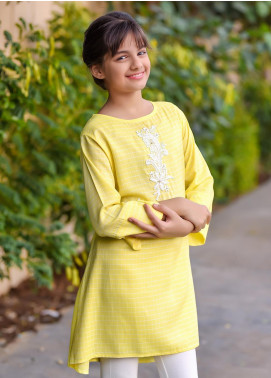 Ochre Chambray Western Tops for Girls -  OWT 324 Yellow