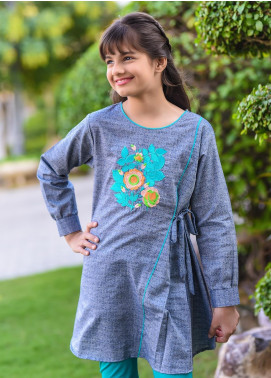 Ochre Chambray Western Tops for Girls -  OWT 328 Grey