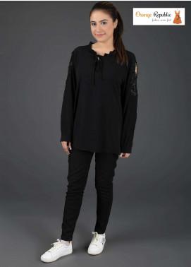 Orange Republic Fancy Style Bubble Chiffon Stitched Tops USA-02 Black