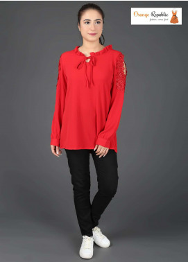 Orange Republic Fancy Style Bubble Chiffon Stitched Tops USA-02 Red
