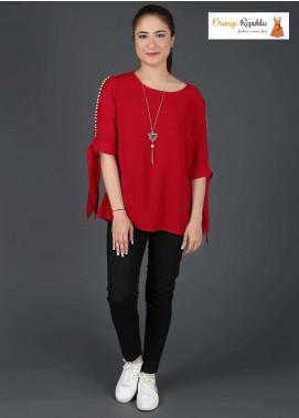 Orange Republic Fancy Style Bubble Chiffon Stitched Tops USA-03 Red