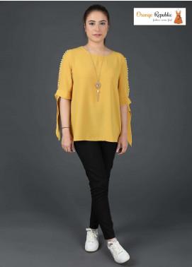 Orange Republic Fancy Style Bubble Chiffon Stitched Tops USA-03 Yellow