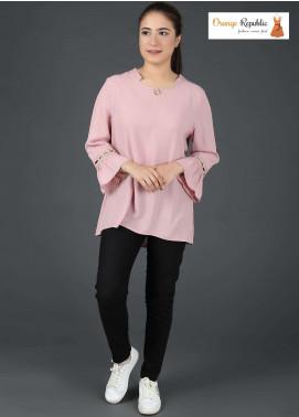 Orange Republic Fancy Style Bubble Chiffon Stitched Tops USA-04 Light Pink