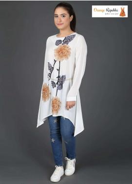 Orange Republic Fancy Style Bubble Chiffon Stitched Tops USA-09 White & Brown