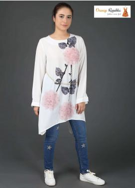 Orange Republic Fancy Style Bubble Chiffon Stitched Tops USA-09 White & Pink