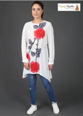 Orange Republic Fancy Style Bubble Chiffon Stitched Tops USA-09 White & Red