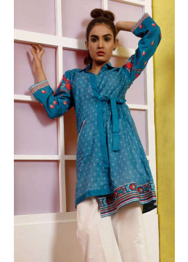 Orient Textile Embroidered Lawn Unstitched Kurties OT19L 056 Blue Line A - Spring / Summer Collection