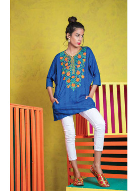 Orient Textile Embroidered Jacquard Unstitched Kurties OT19L 073 Stripes B - Spring / Summer Collection