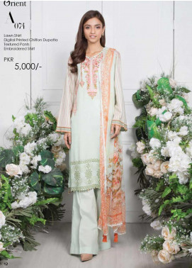 Orient Textile Embroidered Lawn Unstitched 3 Piece Suit OT20SS 074A - Spring / Summer Collection