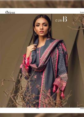 Orient Textile Embroidered Cottle Linen Unstitched 3 Piece Suit OT17W 219B