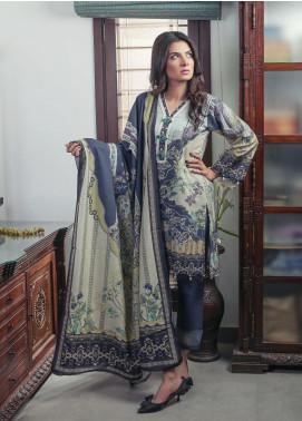 Oture Printed Khaddar Stitched 3 Piece Suit OD3W2191058 Blue