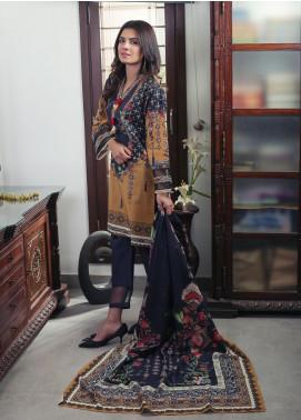 Oture Printed Khaddar Stitched 3 Piece Suit OD3W2191060 Blue