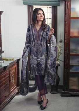 Oture Printed Khaddar Stitched 3 Piece Suit OD3W2191062 Purple