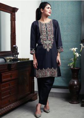 Oture Embroidered Khaddar Stitched Kurtis ODW2191063 Black
