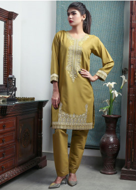 Oture Embroidered Khaddar Stitched 2 Piece Suit OEW2191076 Lemon