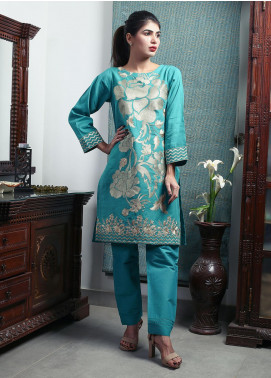 Oture Embroidered Khaddar Stitched 2 Piece Suit OEW2191078 Green