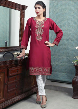 Oture Embroidered Khaddar Stitched Kurtis OEW2191079 Rust