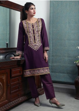 Oture Embroidered Khaddar Stitched 2 Piece Suit OEW2191080 Purple