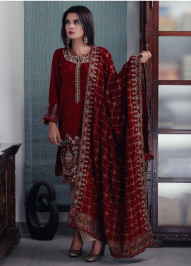 Oture Embroidered Velvet Stitched 3 Piece Suit OVW2191073 Red