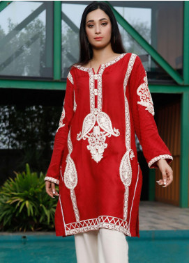 Oture Embroidered Jacquard Stitched Kurtis OSJE1S200030 Self Jaquard Mehroon