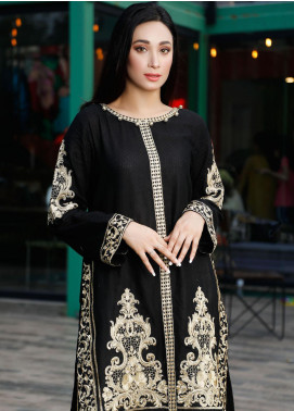 Oture Embroidered Jacquard Stitched Kurtis OSJE1S200031 Self Jaquard Black