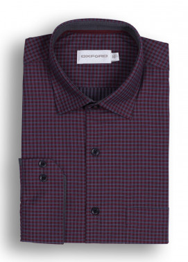 Oxford Cotton Checked Men Shirts - Maroon Mens Formal Shirt SH 1447 MAROON CHECK