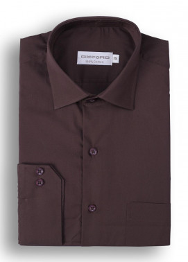 Oxford Cotton Formal Shirts for Men - Brown Mens formal shirts SH 1184-19 BROWN FORMAL