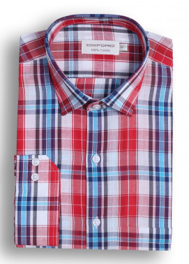 Oxford Cotton Checked Men Shirts - Red Mens formal shirts SH 1393 RED CHECK