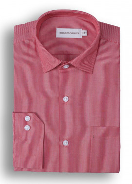 Oxford 80/20 Stripe Shirts for Men - Red Mens formal shirts SH 1401 RED STRIPE