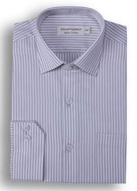 Oxford Cotton Stripe Men Shirts - Grey Mens formal shirts SH 1405 GREY STRIPE