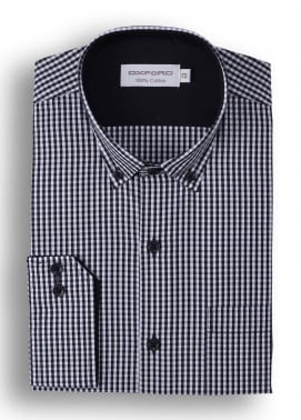 Oxford Cotton Check Shirts for Men - Black Mens formal shirts SH 1408 BLACK CHECK
