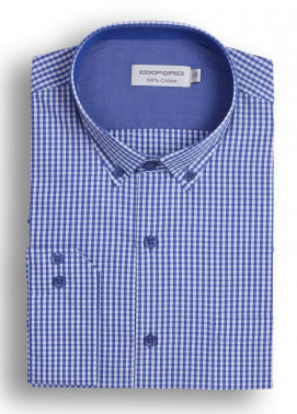 Oxford Cotton Checked Men Shirts - Dark blue Mens formal shirts SH 1408 BLUE CHECK