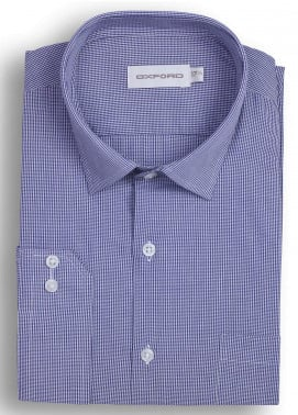 Oxford 80/20 Checked Shirts for Men - Blue Mens formal shirts SH 1413 BLUE CHECK