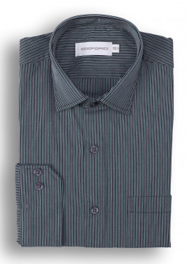 Oxford 80/20 Stripe Men Shirts - Grey Mens formal shirts SH 1415 GREY STRIPE