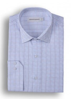 Oxford 80/20 Stripe Shirts for Men - Blue Mens formal shirts SH 1417 BLUE STRIPE