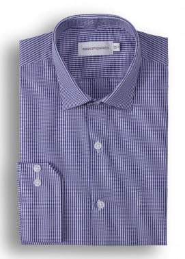 Oxford 80/20 Check Shirts for Men - Navy Blue Mens formal shirts SH 1418 NAVY CHECK