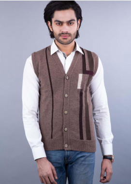 Oxford Lambswool Sleeveless Cardigan Sweaters for Men -  459 S-L CRD BROWN