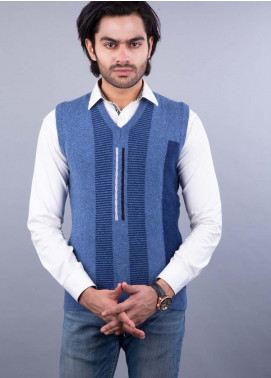 Oxford Lambswool Sleeveless Sweaters for Men -  505 LMB S-L BLUE