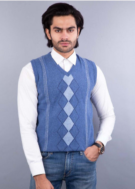 Oxford Lambswool Sleeveless Sweaters for Men -  517 LMB S-L BLUE