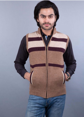 Oxford Lambswool Sleeveless Zipper Sweaters for Men - 507 S-L ZIP BROWN