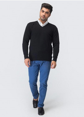 Oxford Woollen Full Sleeves Sweaters for Men -  01 BLACK