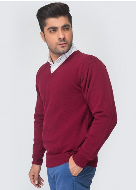 Oxford Woollen Full Sleeves Men Sweaters -  04 MAROON