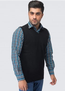Oxford Woollen Sleeveless Men Sweaters -  06 BLACK