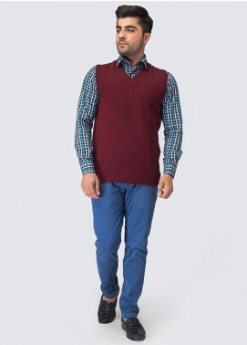Oxford Woollen Sleeveless Sweaters for Men -  07 MAROON